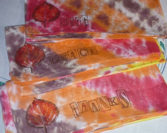 3 Hand Stenciled and tie-dyed vintage damask Cloth Napkins with leaf and  Inspirational words. These help by limiting use of paper products.