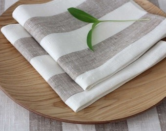 Set of 4 Linen Napkins Striped Gray Beige White