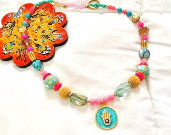 SALE------ BOLLYWOOD GYPSY Necklace - Bohemian Necklace- 22k gold plated - Kashmiri beaded Necklace- Gypsy jewelry