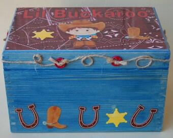 Little Buckaroo Wood Treasure Box, Cowboy, Horseshoes, Wood Box, Boys Wooden Trinket Box