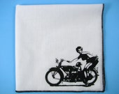 Hankie- BIKER PIN UP girl shown on super soft white cotton hanky-or choose from any solid color or plaids shown in pics