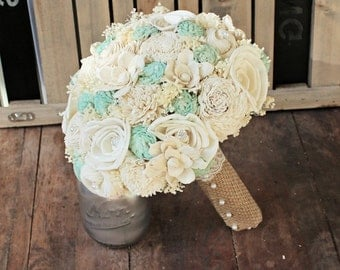 Handmade Natural Wedding Bouquet- Large Ivory Mint Bridal Bridesmaid Bouquet, Rustic Wedding, Alternative Bouquet, Keepsake Bouquet