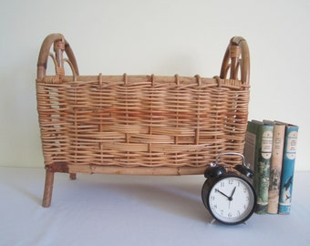 VINTAGE magazine rack - cane, bamboo, wicker