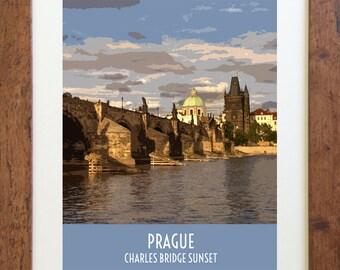 Charles Bridge Prague Travel Poster – Vintage Style, Digital Download – 11 x 14 or 8 x 10