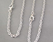 10pcs 2x3mm Silver Plated Oval Chain Necklace with Clasp 60cm
