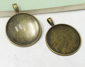 Cabochon Base -10pcs Antique Bronze Round Bezel Pendants 25mm F505-4
