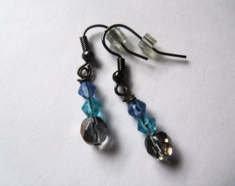 Blue and Gray Beaded Earrings.