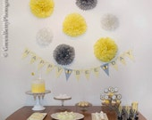 Happy Bee-Day Birthday Yellow Grey Chevron Pennant Flag Bee Theme Banner - Ask About Our Party Pack Specials- Free Shipping Over 65.00