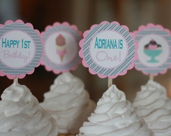 12 - Pink Blue Brown Ice Cream Sundae 1st Theme Birthday Cupcake or Cake Toppers - Ask About Party Pack Deals - Free Ship Over 65.00