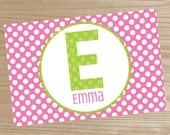 Polka Dot Monogram Placemat - Personalized Monogram Placemat for Girls - Polka Dot Double Sided Laminated Placemat for Kids