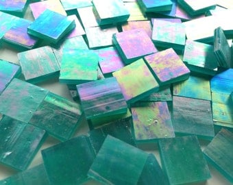 """Mosaic Tiles - 100 1/2"""" Squares - Iridescent Teal Stained Glass - Hand-Cut"""
