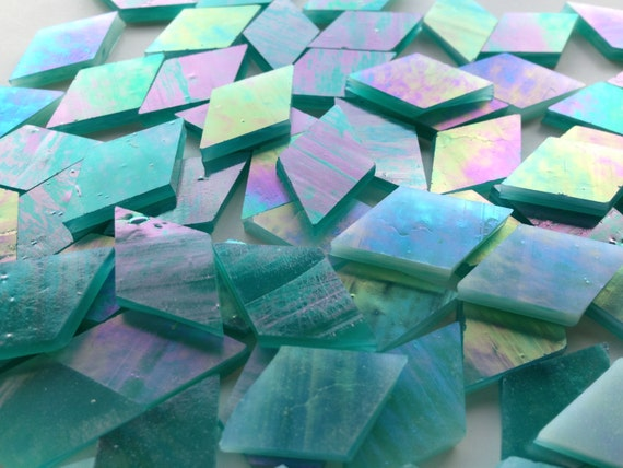 Mosaic Tiles - 100 Small Diamonds - Iridescent Teal Stained Glass - Hand-Cut