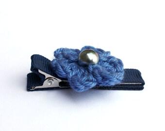Crochet Flower Alligator Hair Clip in Delta Blue