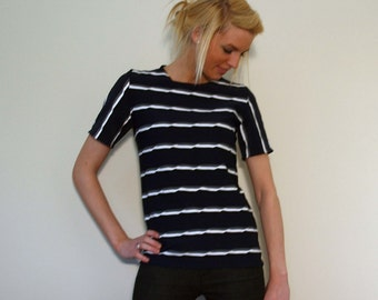 Short Sleeve Jersey Top Navy Color with Raised Textured Black White and Grey Stripes