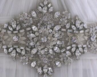 Jewelled wedding sash - crystal belt - bridal sash  - Sweet