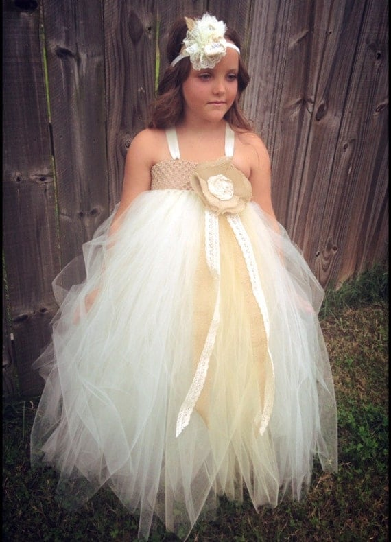 Items similar to Burlap Lace Flower Girl Tutu Tulle Dress ...