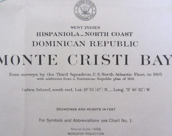 Nautical Decor:  Vintage Nautical Chart - North Coast Dominican Republic - Monte Cristi Bay - AUTHENTIC NAUTICAL CHART #38