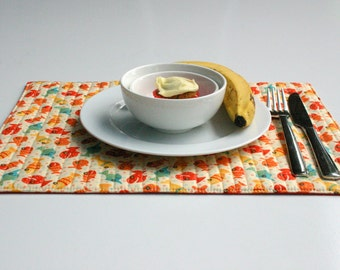 Childs Table Placemat - Little Fish in Red, Orange, Yellow and Teal - ONE Quilted Placemat