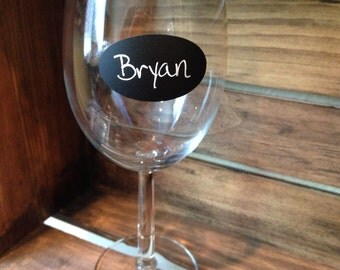 Oval chalkboard vinyl labels - set of 12- small, wine glass size