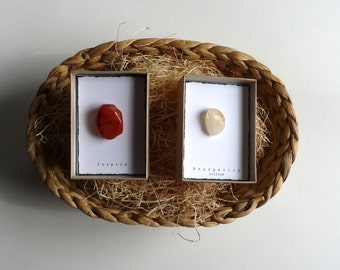 Set of 2--- INTENTION STONE with gift box --- Easter Basket ,Small Gift, favor, candy free Easter Basket idea