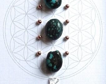 Crystal Grid -- DECEMBER BIRTHSTONE GRID --- framed--- turquoise, copper, clear quartz --- flower of life