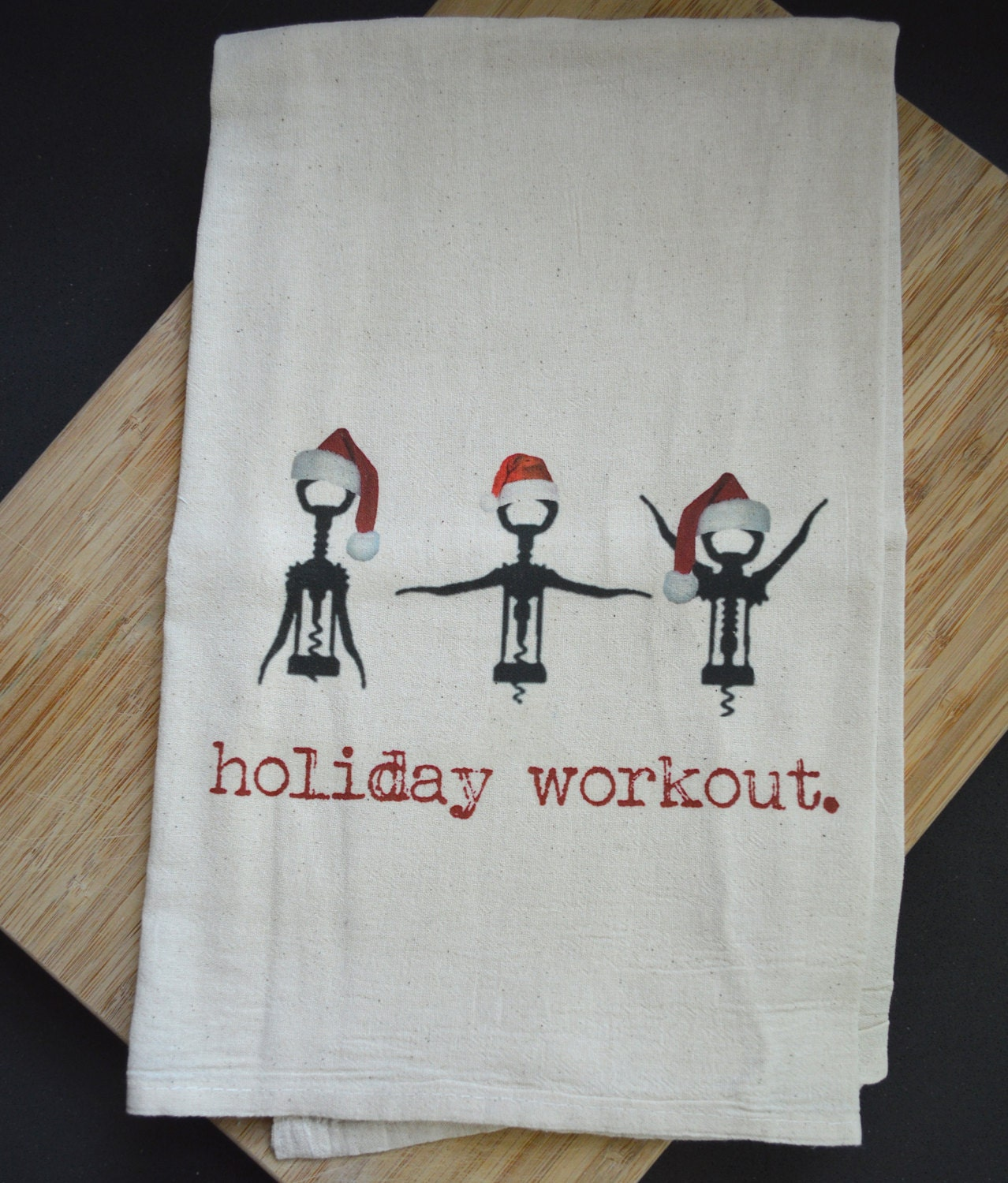 Training With Towels: Holiday Workout Flour Sack Tea Towel By FrenchSilver On Etsy