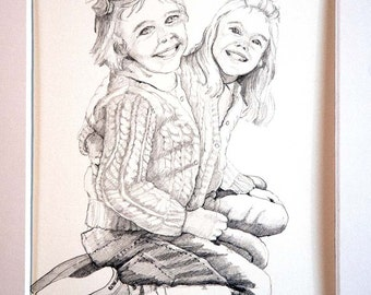 Custom Pencil Portrait of Your Child from Photo-Satisfaction Guaranteed-Pencil on acid-free paper-custom order