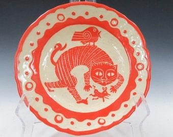 Handmade ART POTTERY DESSERT Plate - Great Child's Plate - Sly Cat, Scared Mouse, Disbelieving Bird Ceramic Sgraffito Functional Ceramic Art
