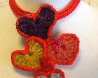 Handmade Crochet Heart Necklace