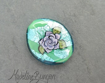 Lilac Tattoo Style Rose on Aqua Green, Lampwork Focal Bead