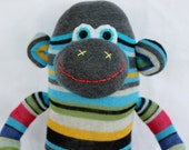 Sock Monkey Doll / Rainbow Stripes / 21 inches