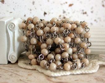 Beaded Chain, Chain, Bead Chain, Rosary Chain, Jewelry Chain, Ivory Luster CHN-070