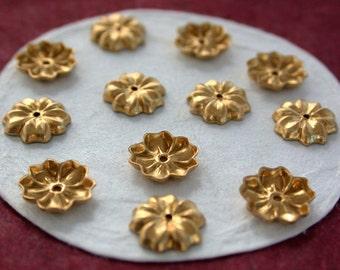 Brass Flower Stampings, Brass Stampings,  Metal Stamped Flowers, Vintage Style Metal Flowers STA-111
