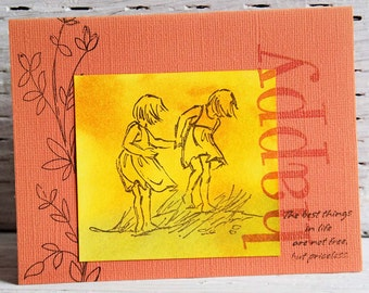 Two Girls Greeting Card, Happy Summer, Handmade Notecard with Inspirational Quote, Children at the Beach, Any Occasion Card for Summer