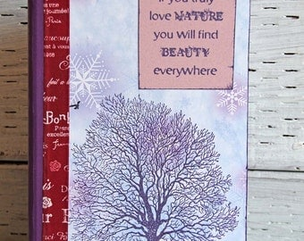 Purple Walnut Tree Journal, Nature Notebook with Inspirational Quote by Vincent Van Gogh, Altered Composition Book with Lined Pages