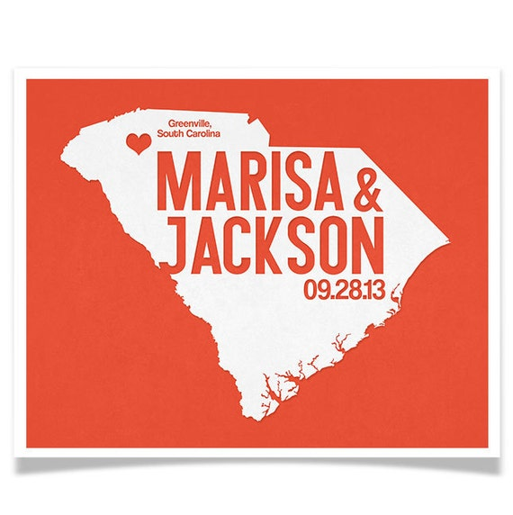 South carolina wedding gift personalized state and heart