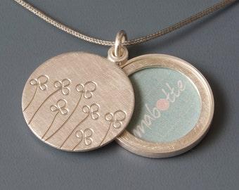 Picture locket sterling silver, Photo locket, mabotte locket, handmade locket, field of flowers