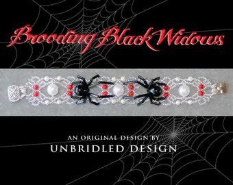 Brooding Black Widows Bracelet pdf beading tutorial