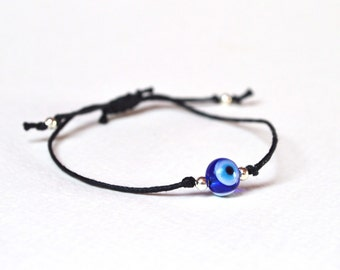Evil Eye Bracelet, Black Friendship Bracelet, Adjustable Cord Bracelet, Nazar Jewellery UK