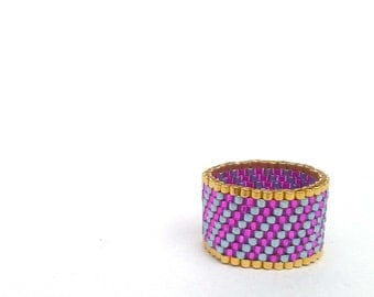 Seed Bead Ring, Pink and Blue Striped Ring, Beadwoven Ring, Beaded Ring, UK Seller
