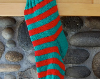 Green and red striped stocking - hand knitted stocking - green Christmas stocking - striped red stocking