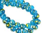 108 Crackle Glass Beads Mottled Blue 8mm - 1 Strand  - Ships IMMEDIATELY  from California - B987