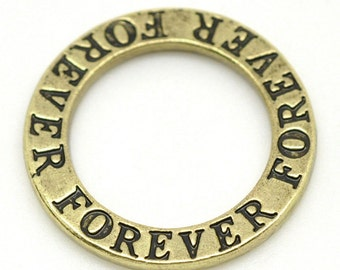 5 Forever Charms - Antique Bronze -  23mm - Ships IMMEDIATELY from California - BC675