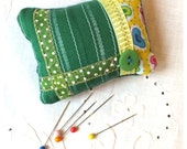 RETRO PIN CUSHION Handmade sewn green fabric patched with ribbons