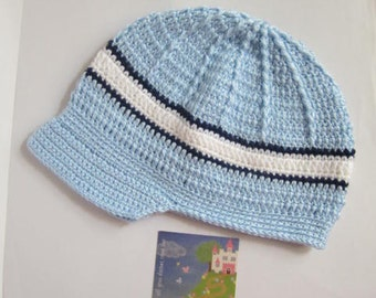 Newsbot Blue Hat, Baby Boy Hats, Crochet Newsboy Hats, Knit Toddler Boy Hat, Baby boy visor hat, Spring Baby Boy Hats, Fall Boys Hats
