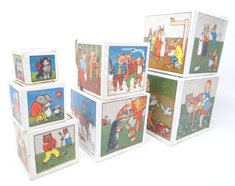 Antique German ABC Nursery Rhyme Blocks, Antique Wooden Toy Blocks with Paper Lithographs