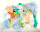 "Intuitive Abstract Expressionist Painting Mixed Media ""Cloudy Spring"" 24x18 paper"
