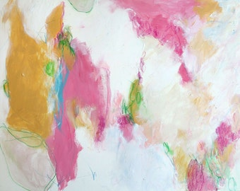 """Intuitive Art Abstract Painting Paper Expressionist 12x16 """"Hopeful"""""""