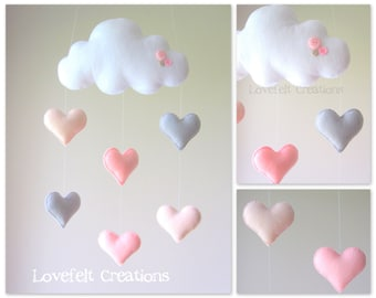 READY TO SHIP Baby mobile - Heart mobile - cloud mobile - pink and gray mobile