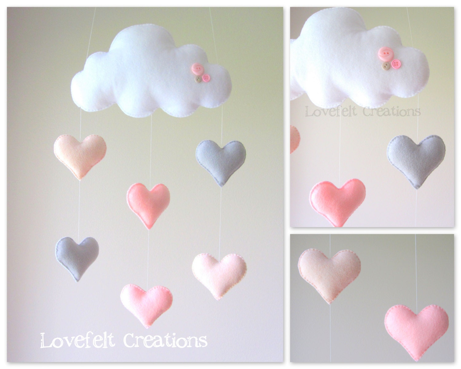 Baby mobile heart mobile cloud mobile pink and gray for Baby mobile pink and grey
